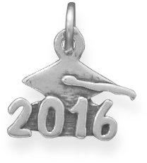 "Oxidized ""2016"" Charm 925 Sterling Silver"