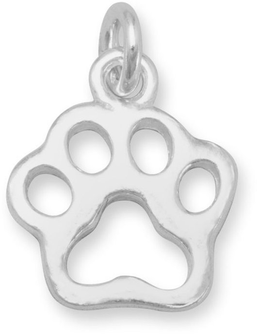Small Cut Out Paw Print Charm 925 Sterling Silver