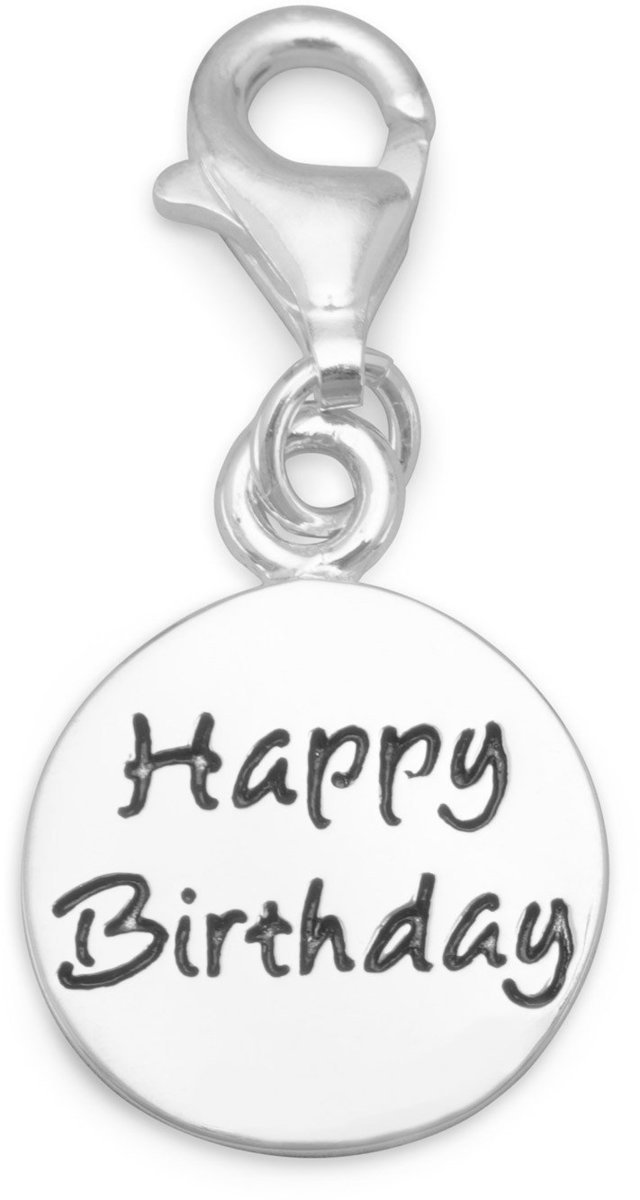 Happy Birthday Charm with Lobster Clasp 925 Sterling Silver