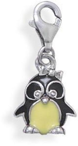 Enamel Penguin Charm with Lobster Clasp 925 Sterling Silver