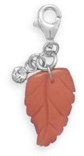 Glass Leaf Charm with Lobster Clasp 925 Sterling Silver