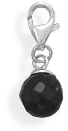 Black Onyx Bead Charm with Lobster Clasp 925 Sterling Silver