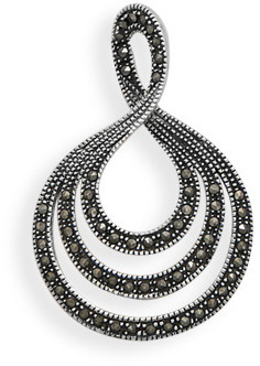 Marcasite Graduated Teardrop Slide 925 Sterling Silver