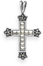 Marcasite Cross Pendant 925 Sterling Silver