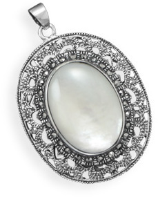 Oval Marcasite and Shell Pendant 925 Sterling Silver - DISCONTINUED