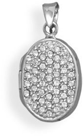 Rhodium Plated Pave Crystal Locket 925 Sterling Silver