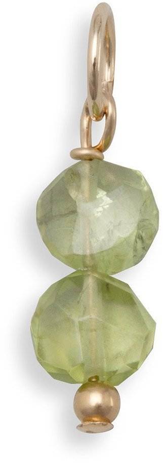 14/20 Gold Filled Peridot Coin Bead Charm - August Birthstone