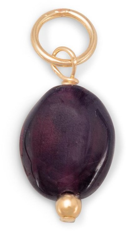 14/20 Gold Filled Oval Garnet Charm - January Birthstone