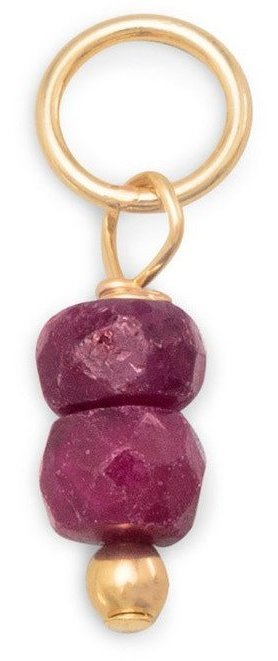 14/20 Gold Filled Ruby Rondell Charm - July Birthstone