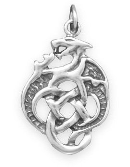 Oxidized Celtic Dragon Charm 925 Sterling Silver - LIMITED STOCK