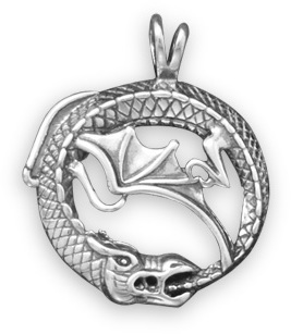 Oxidized Dragon Pendant 925 Sterling Silver