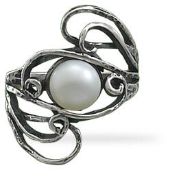 Oxidized Cultured Freshwater Pearl Ring 925 Sterling Silver