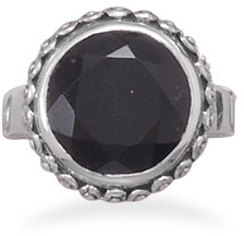 Oxidized Black Onyx Ring 925 Sterling Silver