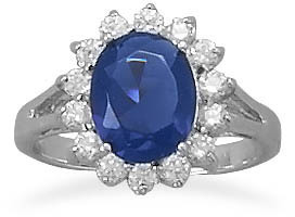 Rhodium Plated Blue and Clear CZ Ring 925 Sterling Silver