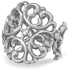 Oxidized Ornate Scroll Ring 925 Sterling Silver