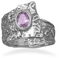 Oxidized Overlap Design Ring with Purple CZ 925 Sterling Silver