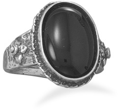 Oxidized Oval Black Onyx Ring 925 Sterling Silver