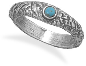 Oxidized Textured Turquoise Ring 925 Sterling Silver