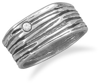 Oxidized Textured Band with CZ 925 Sterling Silver