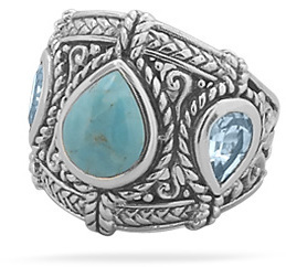 Blue Topaz and Turquoise Ring 925 Sterling Silver