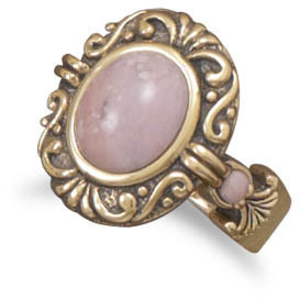 Ornate Bronze and Rhodonite Ring