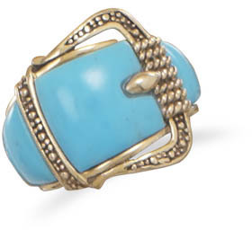 Bronze and Turquoise Buckle Design Ring