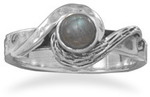 Oxidized Labradorite Ring 925 Sterling Silver