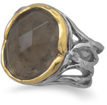 Rhodium Plated and 14 Karat Gold Plated Smoky Quartz Ring 925 Sterling Silver