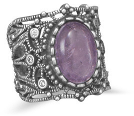Oxidized Vintage Style Amethyst Ring 925 Sterling Silver