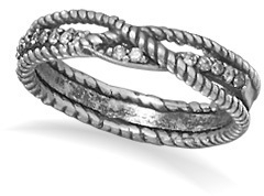 Oxidized Braid Design Ring 925 Sterling Silver