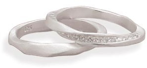 Sterling Silver and CZ 2 Ring Set 925 Sterling Silver