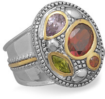 Two Tone Multicolor CZ Ring 925 Sterling Silver