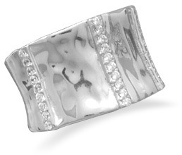 Rhodium Plated Ring with CZs 925 Sterling Silver