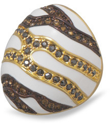 14 Karat Gold Plated White Enamel Ring with Multicolor Crystals 925 Sterling Silver