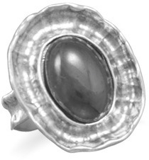 Oval Hematite Ring 925 Sterling Silver