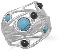Ornate Multistone Ring 925 Sterling Silver