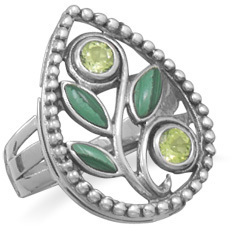 Malachite and Peridot Ring 925 Sterling Silver