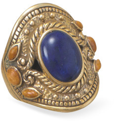 Multistone Ornate Bronze Ring
