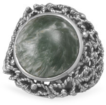 Oxidized Seraphinite Ring 925 Sterling Silver