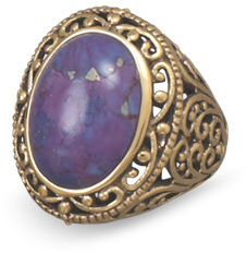 Bronze and Dyed Purple Turquoise Ring