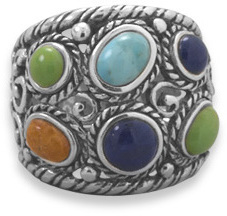 Oxidized Multistone Ring 925 Sterling Silver