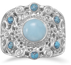 Ornate Larimar and Shattuckite Ring 925 Sterling Silver