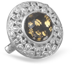 Black Onyx, Gold Leaf and Quartz Ring 925 Sterling Silver
