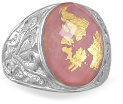 Rhodonite, Gold Leaf and Quartz Ring 925 Sterling Silver