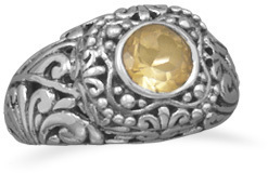 Ornate Oxidized Citrine Ring 925 Sterling Silver