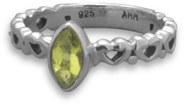 Oxidized Peridot Ring 925 Sterling Silver