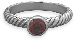 Oxidized Garnet Ring with Twist Band 925 Sterling Silver