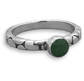 Oxidized Rough-Cut Emerald Ring 925 Sterling Silver