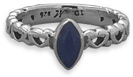 Oxidized Rough-Cut Sapphire Ring 925 Sterling Silver
