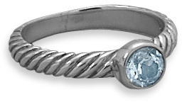 Oxidized Blue Topaz Ring 925 Sterling Silver